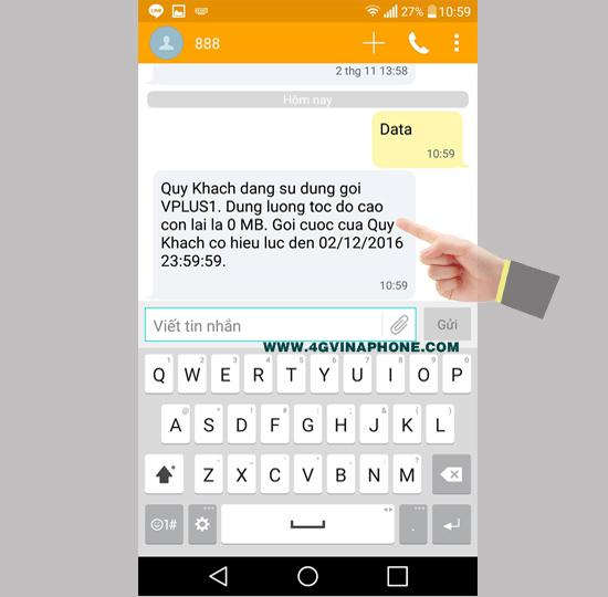Hướng dẫn cách kiểm tra dung lượng 3G Vinaphone