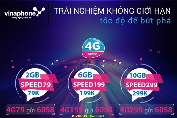Đăng ký gói 4G Data Speed Vinaphone