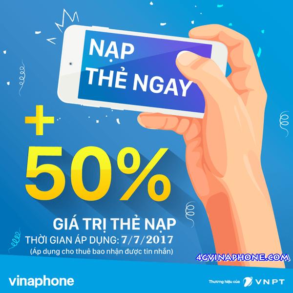 Vinaphone khuyến mãi ngày 7/7/2017 tặng 50% giá trị thẻ nạp