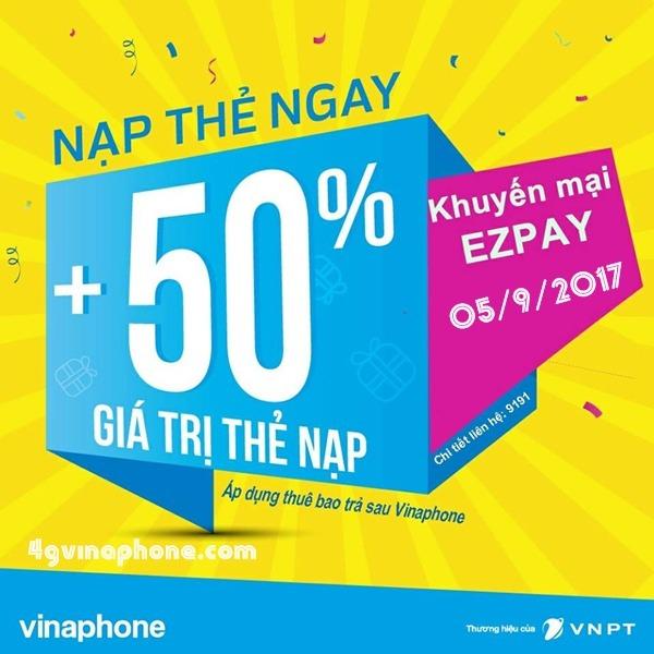 Chương trình Vinaphone khuyến mãi trả sau EZPay ngày 5/9