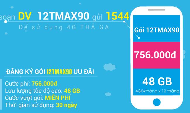 Đăng ký gói 12TMAX90 Vinaphone