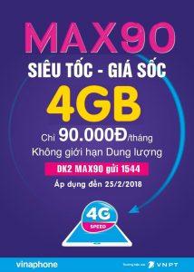 Đăng ký gói cước MAX90 Vinaphone