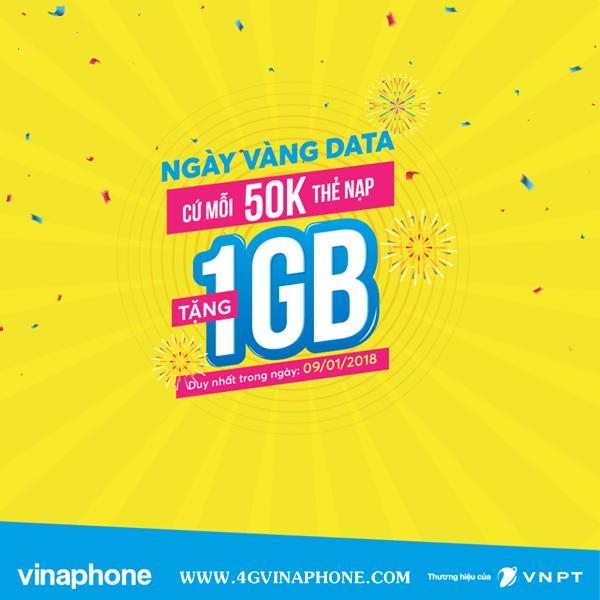 Chương trình Vinaphone khuyến mãi nạp thẻ cào tặng Data ngày 9/1/2018