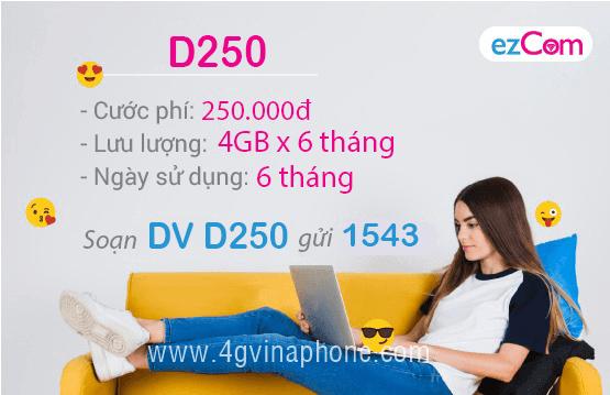 Đăng ký gói D250 Vinaphone 3 tháng