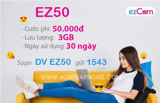 Đăng ký gói EZ50 Vinaphone nhận 3GB chỉ 50.000đ