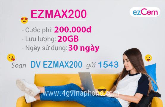 Đăng ký gói cước EZMAX200 Vinaphone