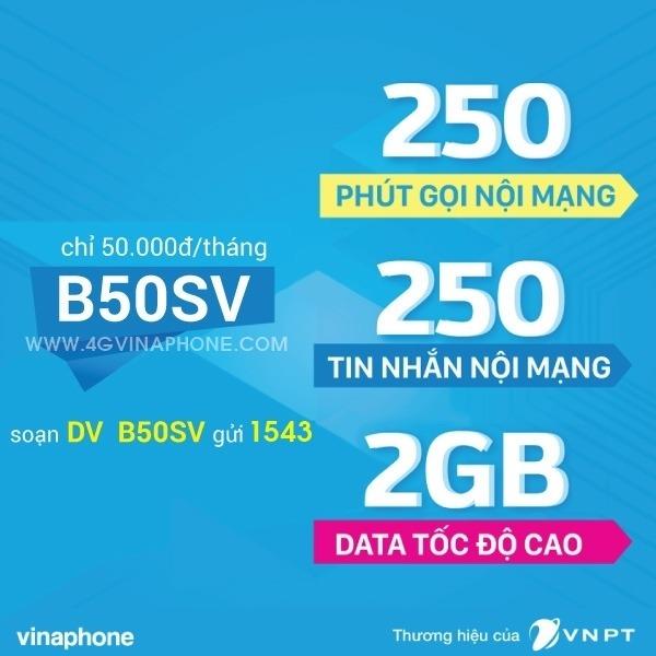 Đăng ký gói B50SV Vinaphone nhận ưu đãi 3 trong 1