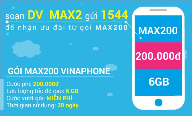 Đăng ký gói cước MAX200 Vinaphone