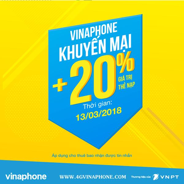 Chương trình Vinaphone khuyến mãi ngày 13/3/2018