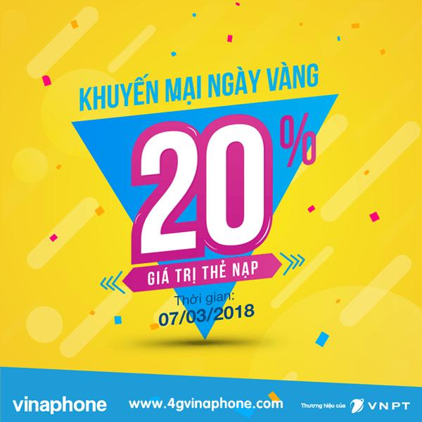 Chương trình Vinaphone khuyến mãi ngày 7/3/2018