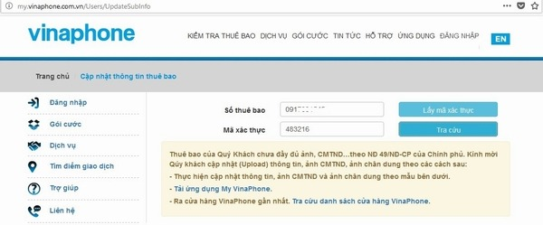 Cách Cập nhật thông tin thuê bao Vinaphone online
