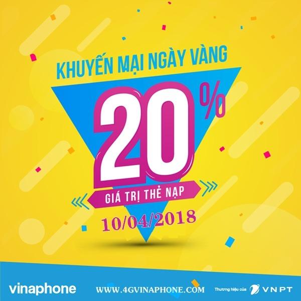 Chương trình Vinaphone khuyến mãi ngày 10/4/2018