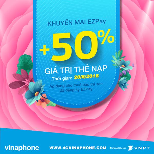 Chương trình Vinaphone khuyến mãi EZPay ngày 20/6/2018