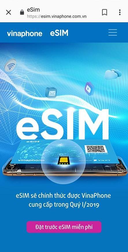 Cách đặt trước eSIM Vinaphone online
