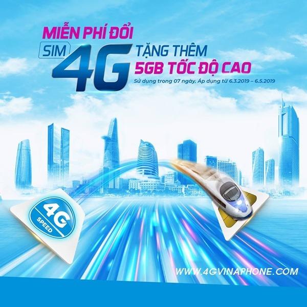 Đổi Sim 4G Vinaphone miễn phí nhận 5GB Data