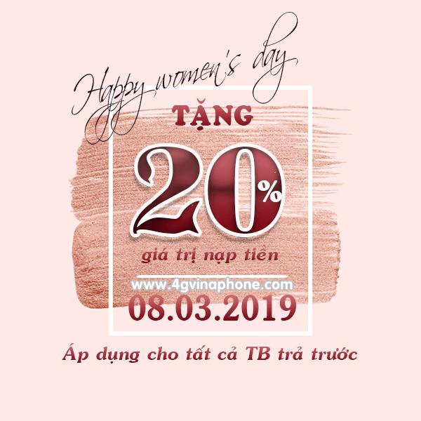 Vinaphone khuyến mãi ngày 8/3/2019 tặng 20% thẻ nạp