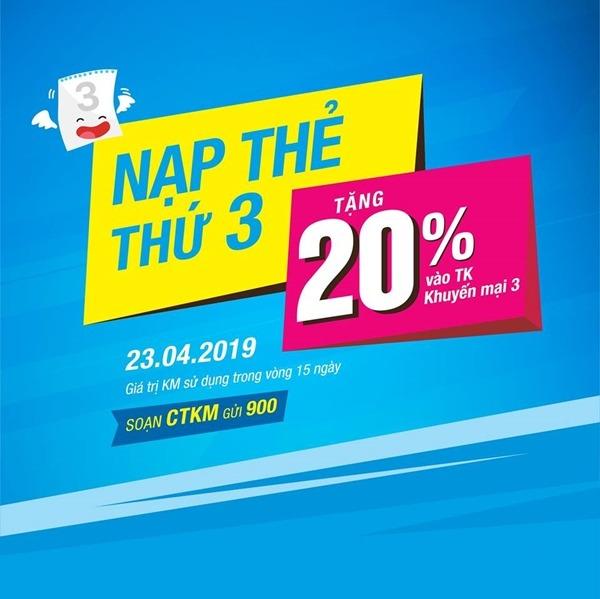 Vinaphone khuyến mãi ngày 23/4/2019 tặng 20% thẻ nạp