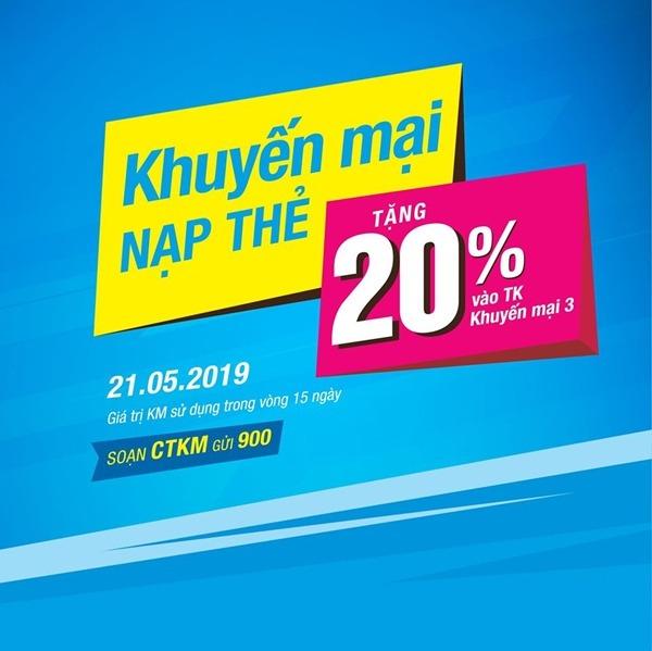 Khuyến mãi Vinaphone ngày 21/5/2019 tặng 20% giá trị thẻ nạp