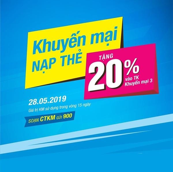 Vinaphone khuyến mãi ngày 28/5/2019 ưu đãi 20% thẻ nạp cục bộ