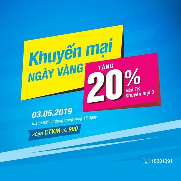 Vinaphone khuyến mãi ngày 3/5/2019 ưu đãi 20% giá trị thẻ nạp