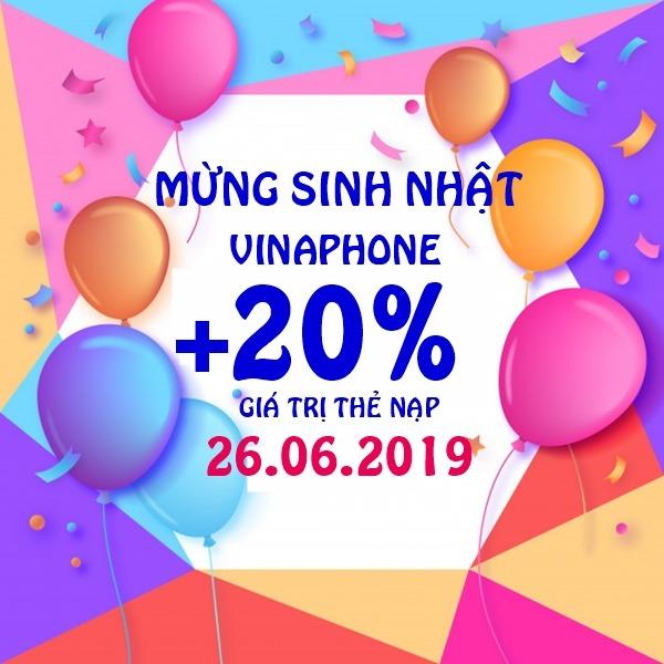 Vinaphone khuyến mãi ngày 26/6/2019 tặng 20% thẻ nạp toàn quốc