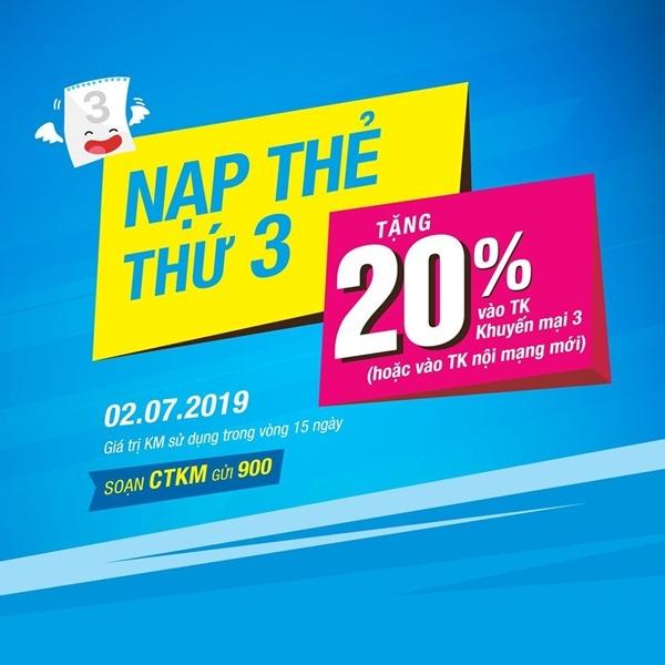 Vinaphone khuyến mãi ngày 2/7/2019 tặng 20% thẻ nạp