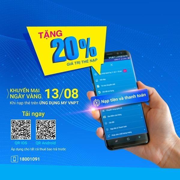 Vinaphone khuyến mãi ngày 13/8/2019 tặng 20% thẻ nạp