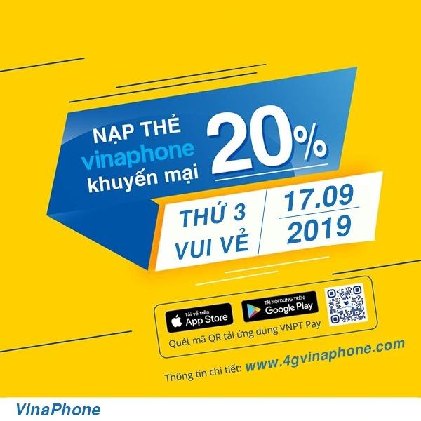 Vinaphone khuyến mãi ngày 17/9/2019