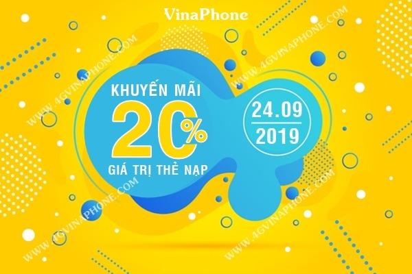 Vinaphone khuyến mãi ngày 24/9/2019 tặng 20% thẻ nạp