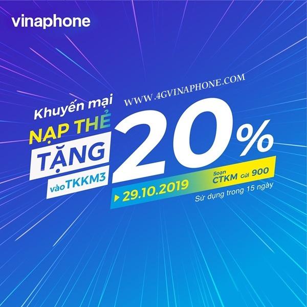 Vinaphone khuyến mãi ngày 29/10/2019 tặng 20% thẻ nạp