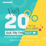 Vinaphone khuyến mãi ngày 8/11/2019 tặng 20% thẻ nạp