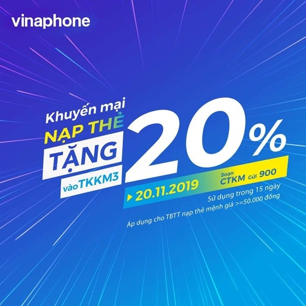 Vinaphone khuyến mãi ngày 20/11/2019