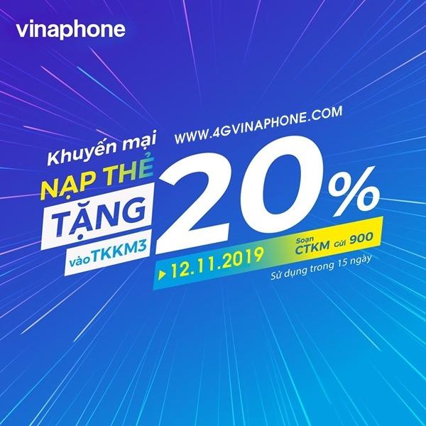 Vinaphone khuyến mãi ngày 12/11/2019 tặng 20% thẻ nạp