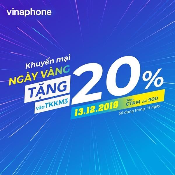 Vinaphone khuyến mãi ngày 13/12/2019 tặng 20% thẻ nap