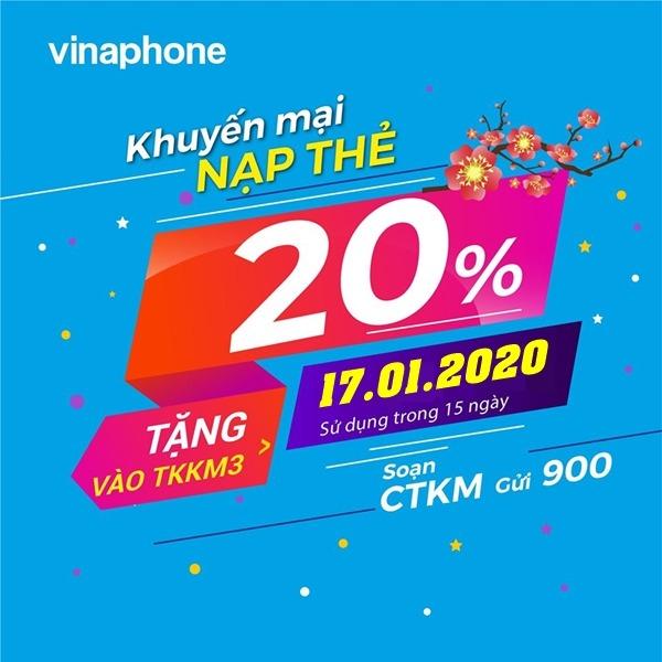 Vinaphone khuyến mãi ngày 17/1/2020 ưu đãi 20% thẻ nạp