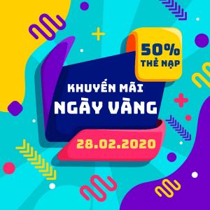 Vinaphone khuyến mãi ngày 28/2/2020 tặng 20% thẻ nạp Ngày Vàng