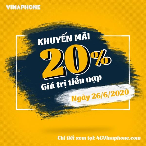 Vinaphone khuyến mãi ngày 26/6/2020 cho tb trả trước