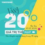 Vinaphone khuyến mãi ngày 31/7/2020 ưu đãi ngày vàng