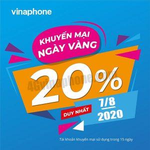 Khuyến mãi Vinaphone ngày 7/8/2020 ưu đãi 20% giá trị tiền nạp