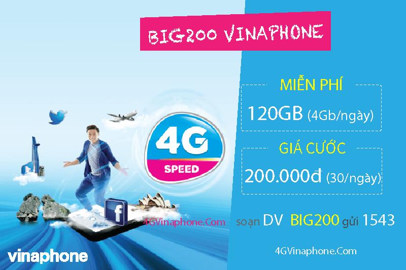 Cách đăng ký gói BIG200 Vinaphone nhận 120GB (4GB/ngày) Data chỉ 200.000đ - 4GVinaPhone.com