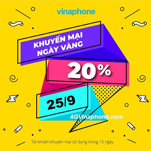 Chi tiết chương trình khuyến mãi Vinaphone ngày 25/9/2020