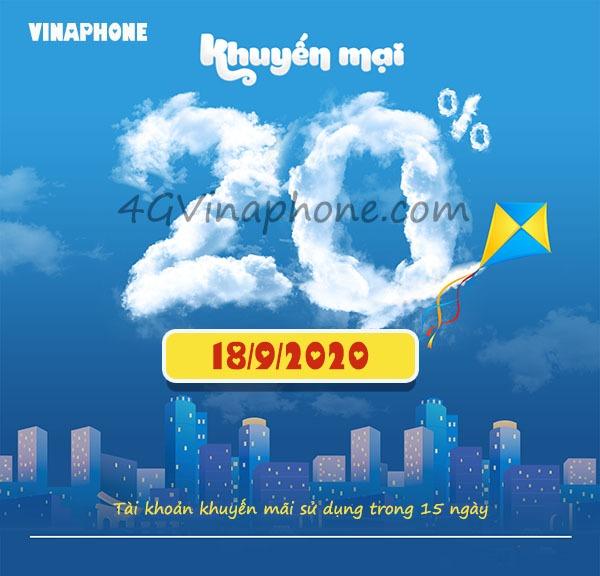 thông tin chương trình Vinaphone khuyến mãi ngày 18/9/2020