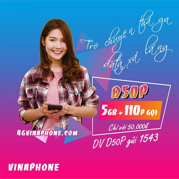 Cách đăng ký gói D50P Vinaphone nhận 5GB data + 110p gọi chỉ 50k/tháng