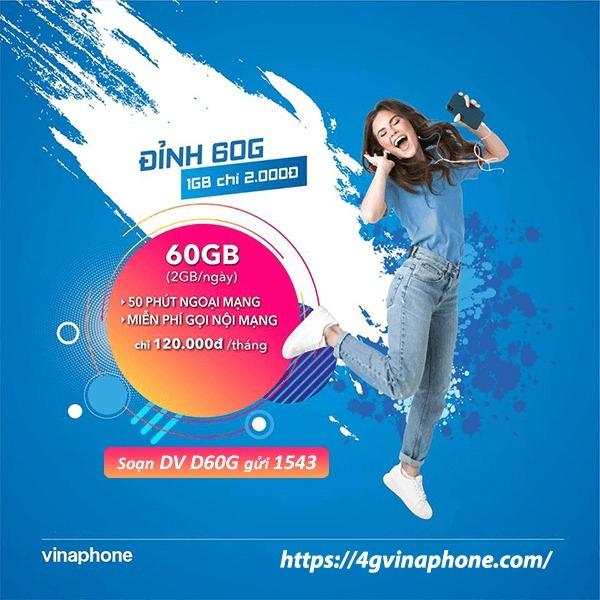 Ưu đãi 60GB data chỉ 50k khi đăng ký gói KM60G Vinaphone
