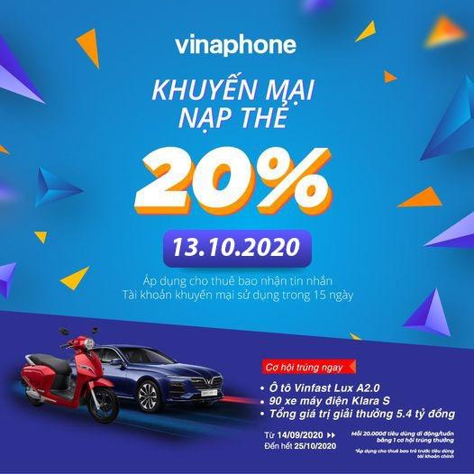 Khuyến mãi Vinaphone ngày 13/10/2020 ưu đãi cho thuê bao may mắn