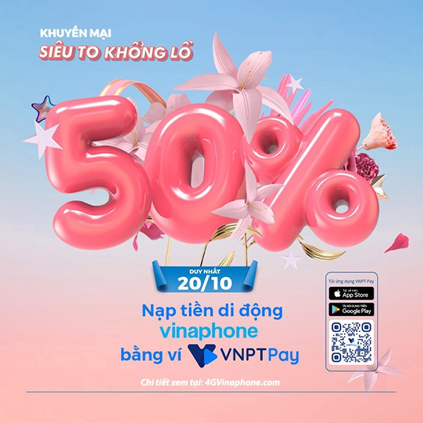 Khuyến mãi Vinaphone ngày 20/10/2020 ưu đãi hấp dẫn toàn quốc