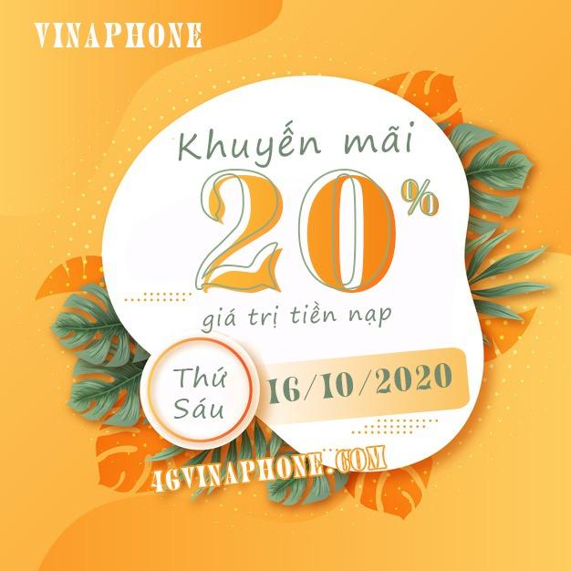 Vinaphone khuyến mãi ngày 16/10/2020 ưu đãi ngày vàng toàn quốc
