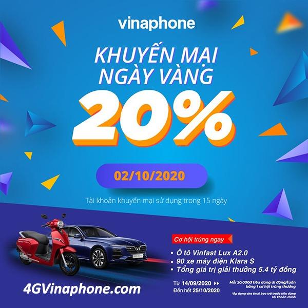 Vinaphone khuyến mãi ngày 2/10/2020 ưu đãi ngày vàng toàn quốc