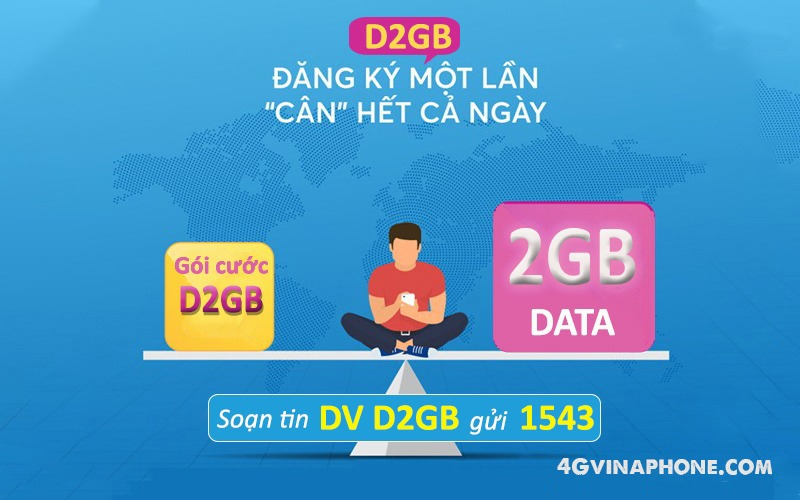 Cách đăng ký gói cước D2GB Vinaphone nhận 2GB data chỉ với 5.000đ