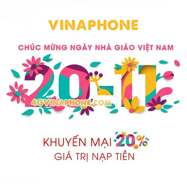 Vinaphone khuyến mãi ngày 20/11/2020 ưu đãi ngày vàng toàn quốc
